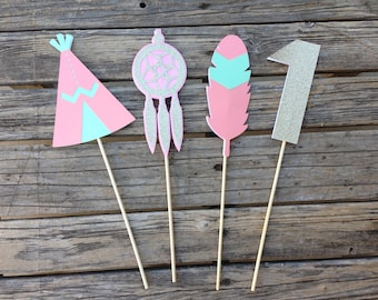 Tribal Party Center Piece Sticks - Tribal Party, Table Decorations, Baby Shower, First Birthday