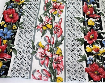Vintage Floral Barkcloth Fabric/ Stripes & Flowers/ Craft Supplies and Tools/ Haberdashery/ Sewing/ Upholstery