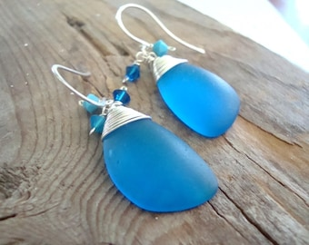 Dark Turquoise Sea Glass Earrings With Crystal Large Eclipse Sterling Silver Summer Beach Glass Jewelry Mothers Day Modern Beach Weddings