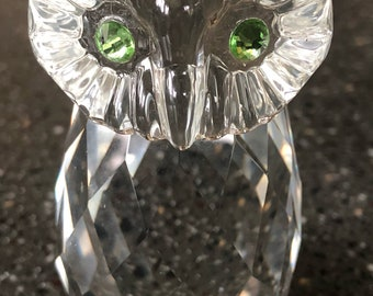 Clear Crystal Owl Paperweight