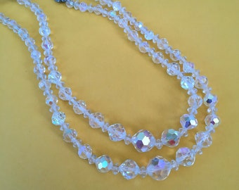 Vintage Aurora Borealis rhinestone Crystal bead necklace two strands adjustable with Silvertone findings