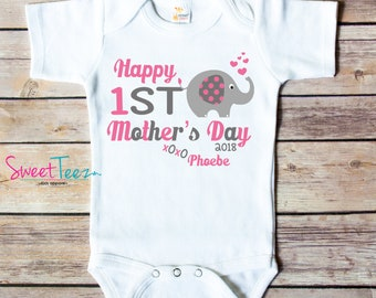 1st Mothers Day Shirt, First Mothers Day Gift , My 1st Mothers Day Shirt, Mother's Day Shirt, Baby Bodysuit Elephant
