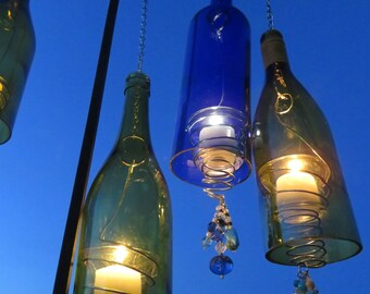Recycled Wine Bottle Candle Holders, Wind Chimes, Porch Decoration, Wine Bottles Decor, Wedding Light, Wedding Candle Holder