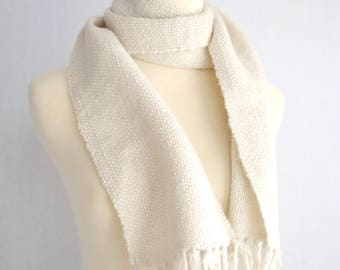 hand spun alpaca wool scarf, white scarf, hand woven scarf, alpaca hand spun, winter scarf, handspun and handwoven by SpunWool