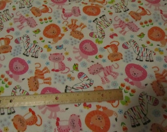 White Girly Jungle Animal/Lion/Tiger/Zebra Flannel Fabric by the Yard