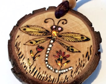 Dragonfly Pendant Necklace-Tree Slice-Nature Lovers Gift-Dragonfly Art