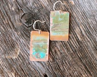 Copper Teal Patina Dangle Earrings Green Rustic patina