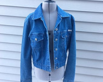 Vintage 90s Stretch Denim Cropped Jacket, 90s Women's Clothing, 90s Grunge, 90s Jean Jacket, Vintage Outerwear, Size S