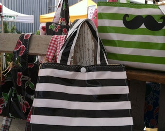 Beth's Black Stripes Oilcloth Lunch Box
