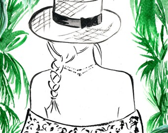 Digital Download - Watercolour Fashion Illustration Titled Paradise Found