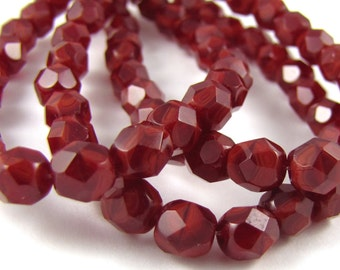 Oxblood Red Swirl 6mm Facet Round Czech Glass Fire Polished Beads #161