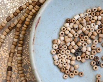 Antiqued Ivory Seed Beads, Cream Glass Beads, Indonesian Lamp Work Beads, Beige Tube Bead, Opaque Bead, Rustic Bead, 44'' Strand, BB17-1207A