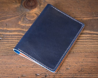 Hobonichi Techo (A6 size) planner cover, Horween leather - blue / chestnut