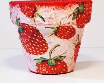 Flower pots strawberry garden decor home decor  handpainted  centerpiece table decor gift for her, gift for mother, for wife, for girlfriend