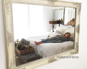 Cream Nursery Mirror, French Farmhouse Mirror, Farmhouse Vanity Mirror, Ornate Mirror