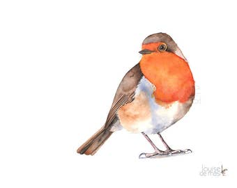 Robin print of watercolor painting, R20217, A4 size print, robin watercolor painting print, Robin wall art, robin illustration