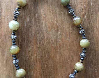 """Colorado Mountain - Hand-crafted 17.5"""" necklace of Green Jasper, Tiger Iron & Balinese Silver Beads"""