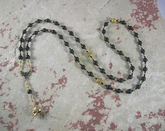 Hades Prayer Bead Necklace in Black Onyx: Greek God of Death and the Afterlife, Abundance and Wealth, and King of the Underworld