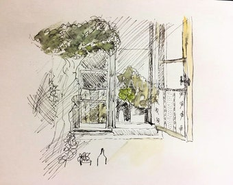 Open window - print of original ink and wash painting