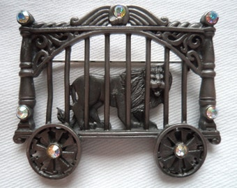 Vintage Signed AJC Silver pewter Lion in Circus Cage Brooch/Pin