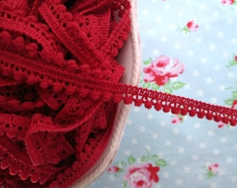 Mini Pom Pom Trim - Cranberry Red - Ball Fringe - 1 Yard