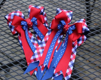 Patriotic Plaid Horse Show Bows