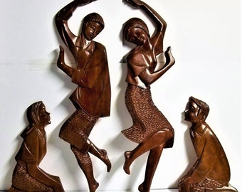 Vintage X-Large Hand Carved Wooden Folk Art Dancing Figurines Wall Hanging Plaques Set of 4,