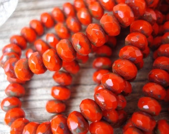 5x3 bright red rondelle beads, red czech glass beads