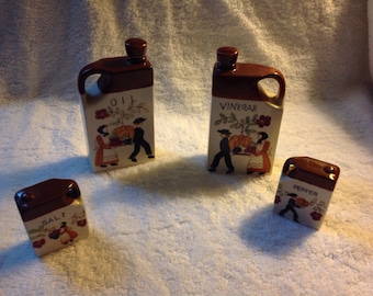 Salt and pepper shakers, oil and vinager set