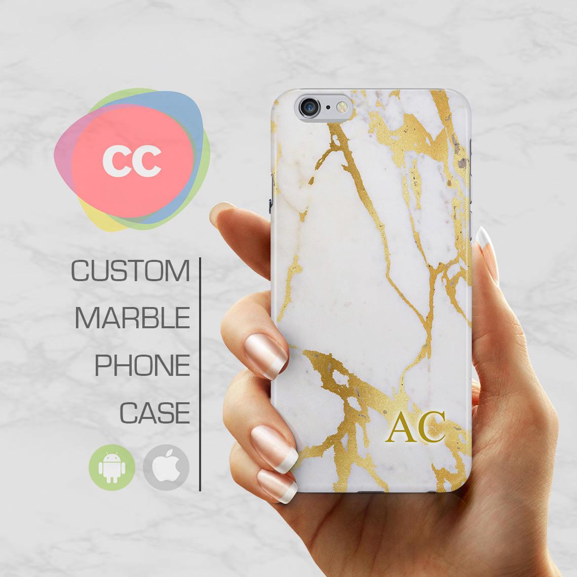 f450faccda6 Custom Gold Initial Marble Case   Initials iPhone 6 Case