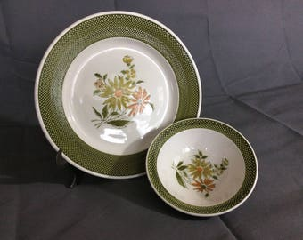 Vintage Bellegay Ironstone Dinner Plate and Bowl Set Green and Orange Flower 4292 Made in Japan