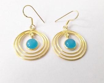 Natural Chalcedony Gemstone Earrings ! 925 Sterling Silver Natural Chalcedony Earrings ! Handmade Jewelry !! Wedding Gift !