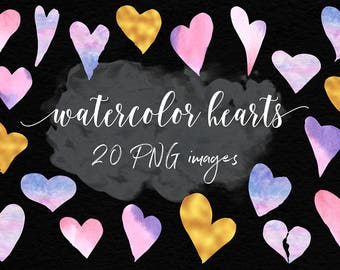 Watercolor And Gold Hearts, Love Heart Clipart, Valentine Hearts, Valentine's Day, Watercolor & Gold Foil Valentine Clipart, BUY3FOR6