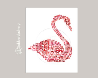 Emma Swan Once Upon A Time Typography Fairytales, Wordshape, Wordle, Swan, Red, 8x10 Digital Print, OUAT