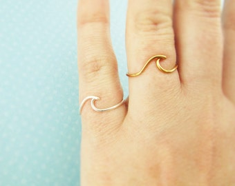 Gold Wave Ring, Beach Jewelry, Surf Ring, Summer Jewelry, Beach Wedding, Sterling or 14K Gold, Beach Jewelry, Surf Jewelry, Water, Ocean