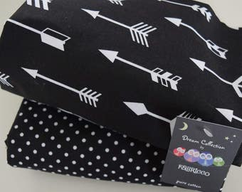 2 x Cot-Bed-Fitted-Sheet-100-COTTON- Cot Bed Fitted Sheet 100% COTTON Black White Arrows Dots Monochrome Bedding