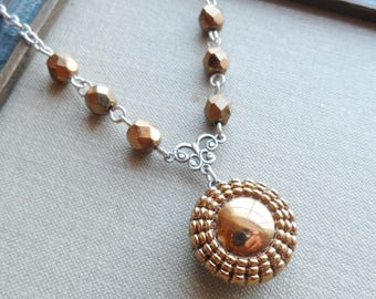Gold Flower, Vintage Glass Button Necklace, Silver Ox