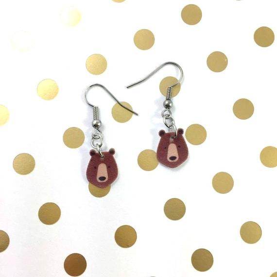 bear, brown, bear brown earring, pendent, earring,  plastic, night, animal head, animal, stainless hook, handmade, les perles rares