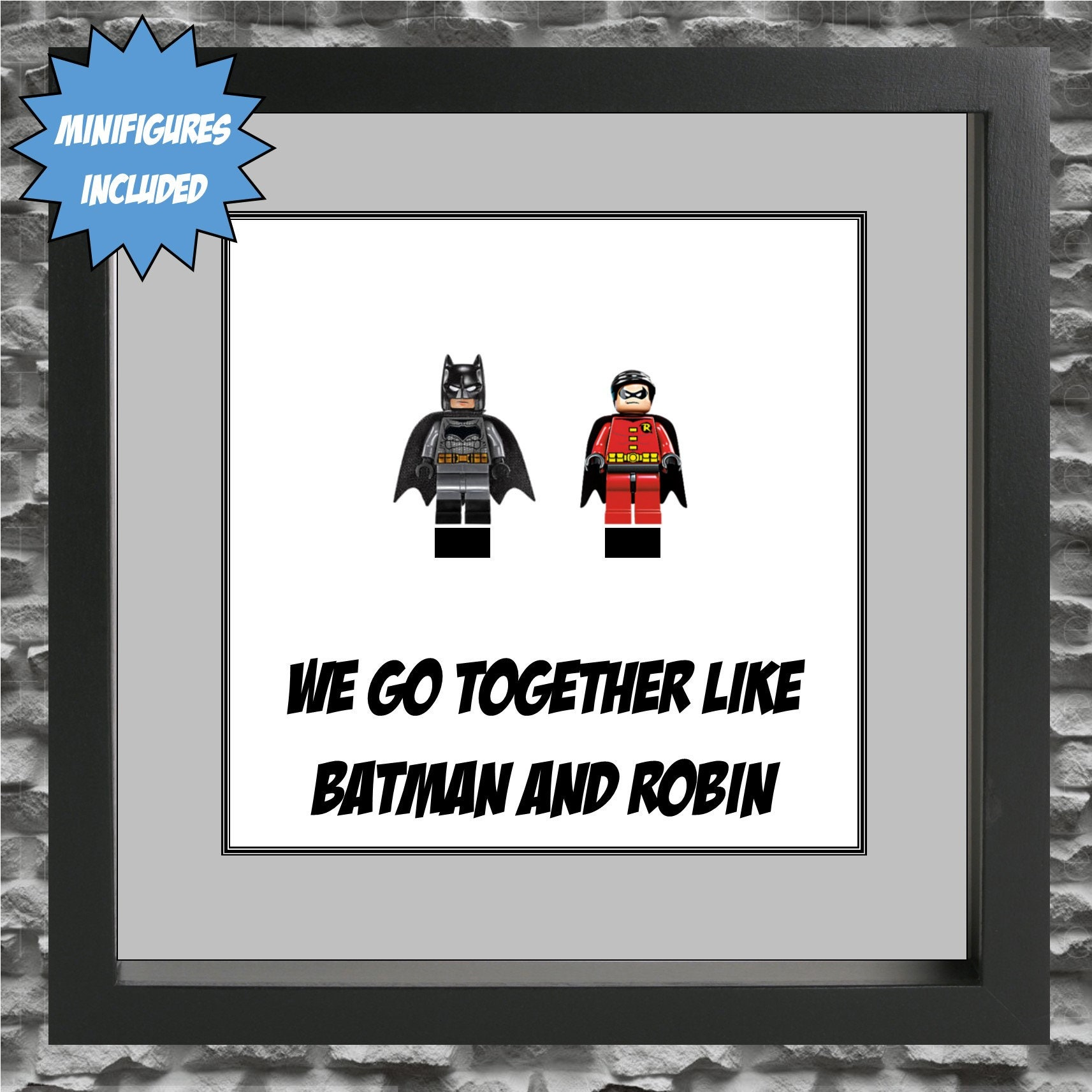 Batman And Robin We Go Together Minifigure Frame