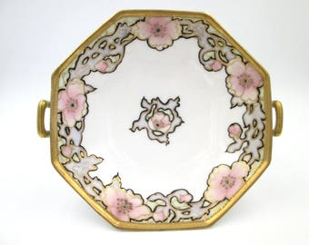 Vintage Nippon Porcelain Pedestal Bowl - Antique Hand-painted Nippon Compote - Nippon Hand-painted Footed Compote With Handles