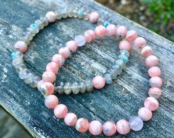 Pink Rhodochrosite Bracelets - Flashy Labradorite Bracelet Pair - Gemstone Stacking Bracelets - Bohemian Jewelry - Heart Chakra Love Gift