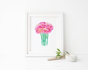 Pink Peony Bouquet- Digital Download