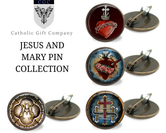 Catholic Brooch Pin in bronze - One inch pins - JESUS AND MARY Collection - Choose one or the whole set
