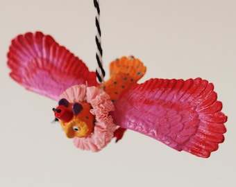 Hand painted owl hanging decoration