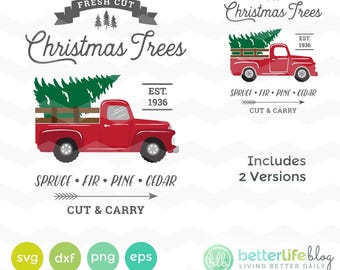 Christmas Tree Truck SVG File: Red Tree Truck Sign svg File, dxf, Silhouette Cameo, Cricut Christmas Tree Truck, Holiday Truck svg