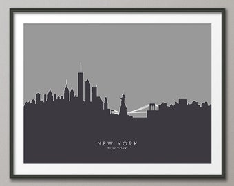 New York Skyline, NYC Cityscape Art Print (631)