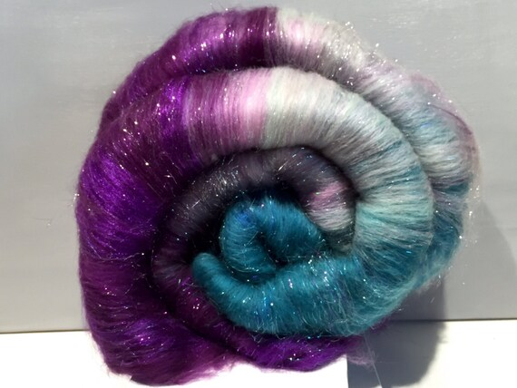 "fiber art batt, wool, felting, spinning, Roving, ""Patti's Passion"", purple, lavender, teal, grey, turquoise, nuno felting, hand spinning"