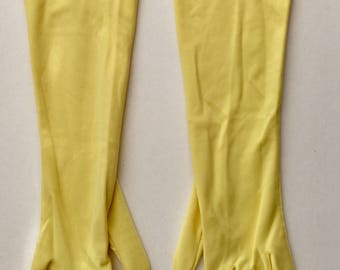 1960's Long Evening Soft One of a Kind Yellow Gloves