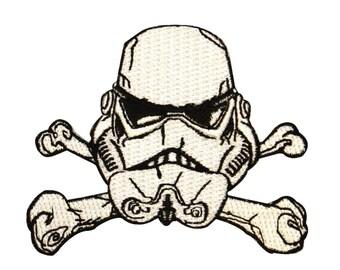 Stormtrooper Helmet Crossbones Empire Emblem Star Wars Embroidered Iron On Patch