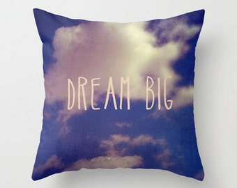 decorative pillow cover-home decor- photo pillow- clouds-blue- pink--typography-nature photo- inspiring quote-gift idea